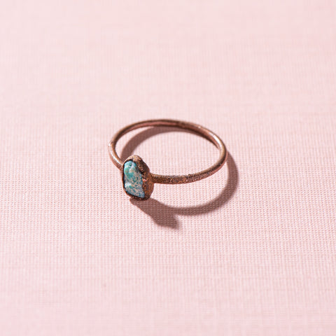 small turquoise piece stacking copper ring