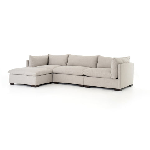 cream fabric sofa with ottoman