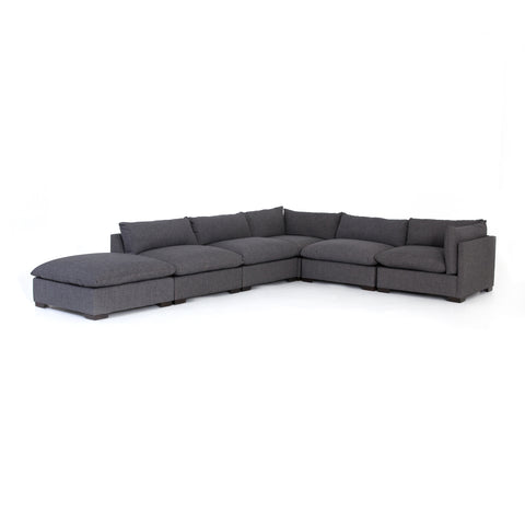 charcoal fabric L-shaped sectional with ottoman