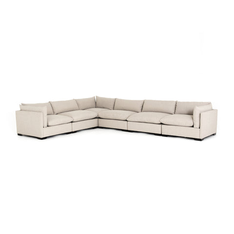 cream fabric L-shaped sectional