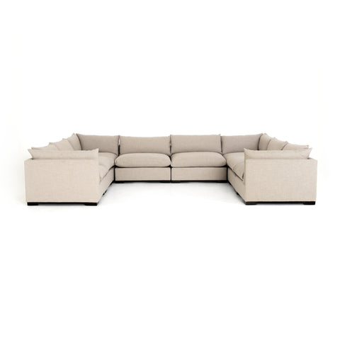 large cream pillow top u-sectional