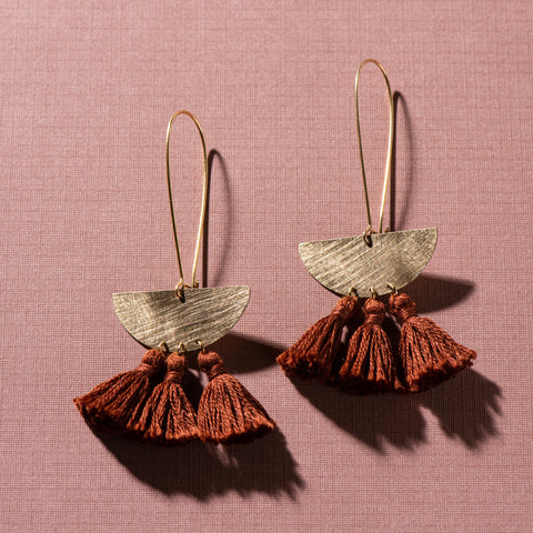 brass and umber colored cotton thread earrings