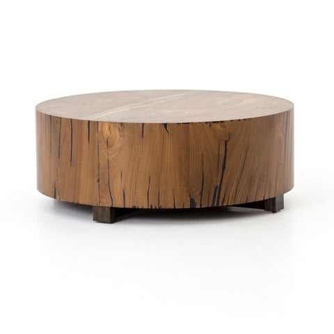 solid yukas wood cylindrical coffee table