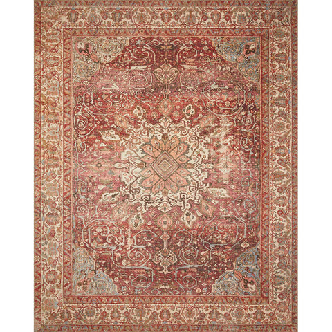 red traditional area rug with traditional detail and border