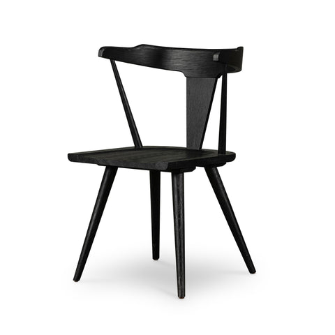 black oak modern cafe style dining chair