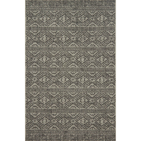 modern grey and black indoor/outdoor rug