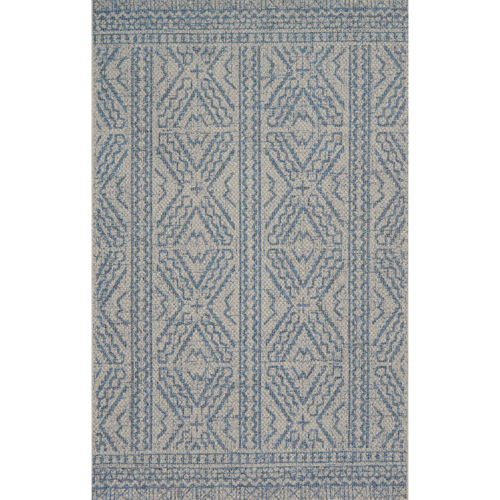 modern grey and blue indoor/outdoor rug