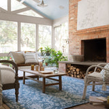 blue and grey traditional patterned rug