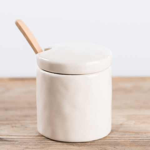 WHITE SUGAR CANISTER WITH WOODEN SPOON