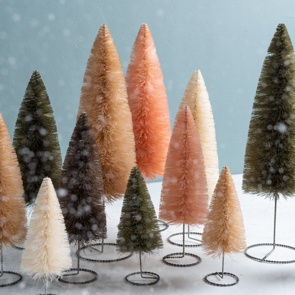 blush pink decorative bottle brush christmas tree