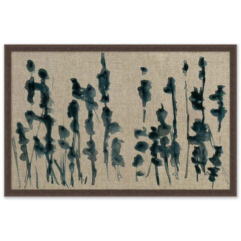 abstract painting of plant reeds on fabric in wooden frame