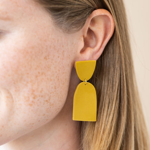 yellow clay earrings