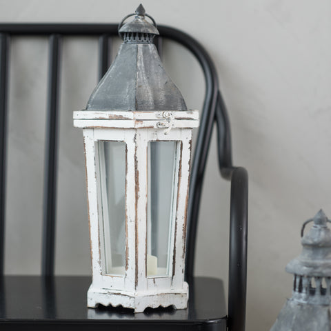 white wooden candle lantern with grey metal top