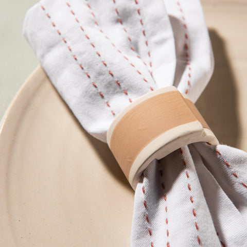 matte terracotta glaze ceramic napkin ring