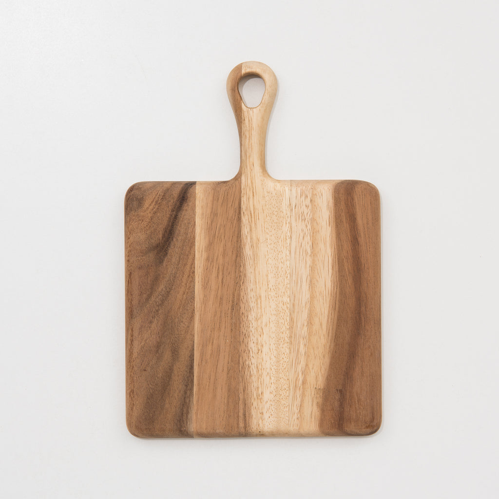 square acacia cutting board with handle