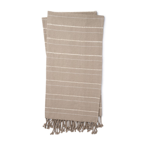 warm grey throw blanket with white pinstripe detail and grey tassel fringe