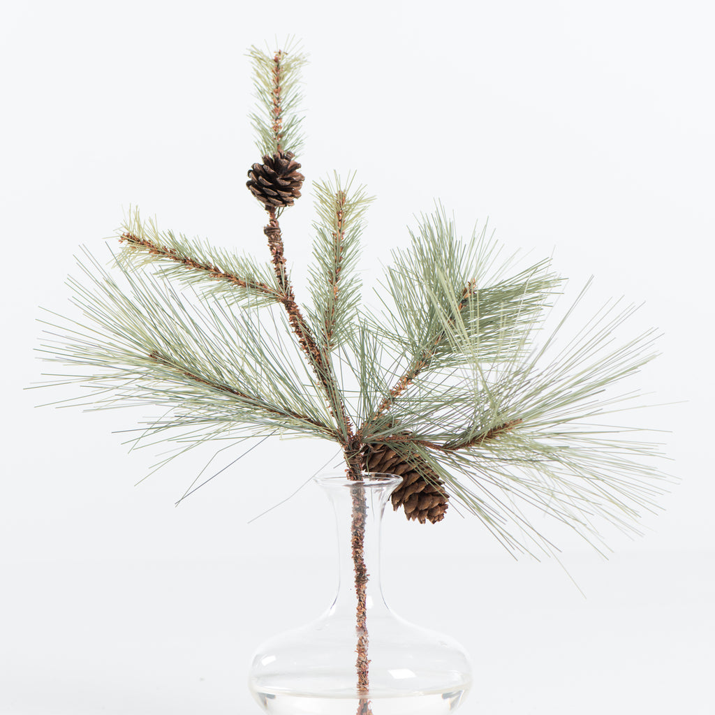 small faux pine stem with pine cones