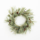 large artificial pine stem wreath with pine cones
