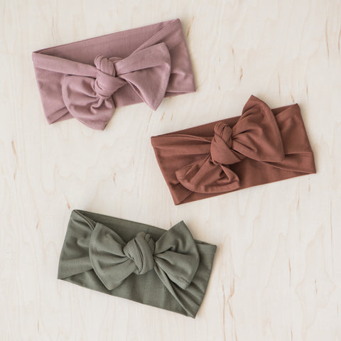 olive green baby head wrap and bow