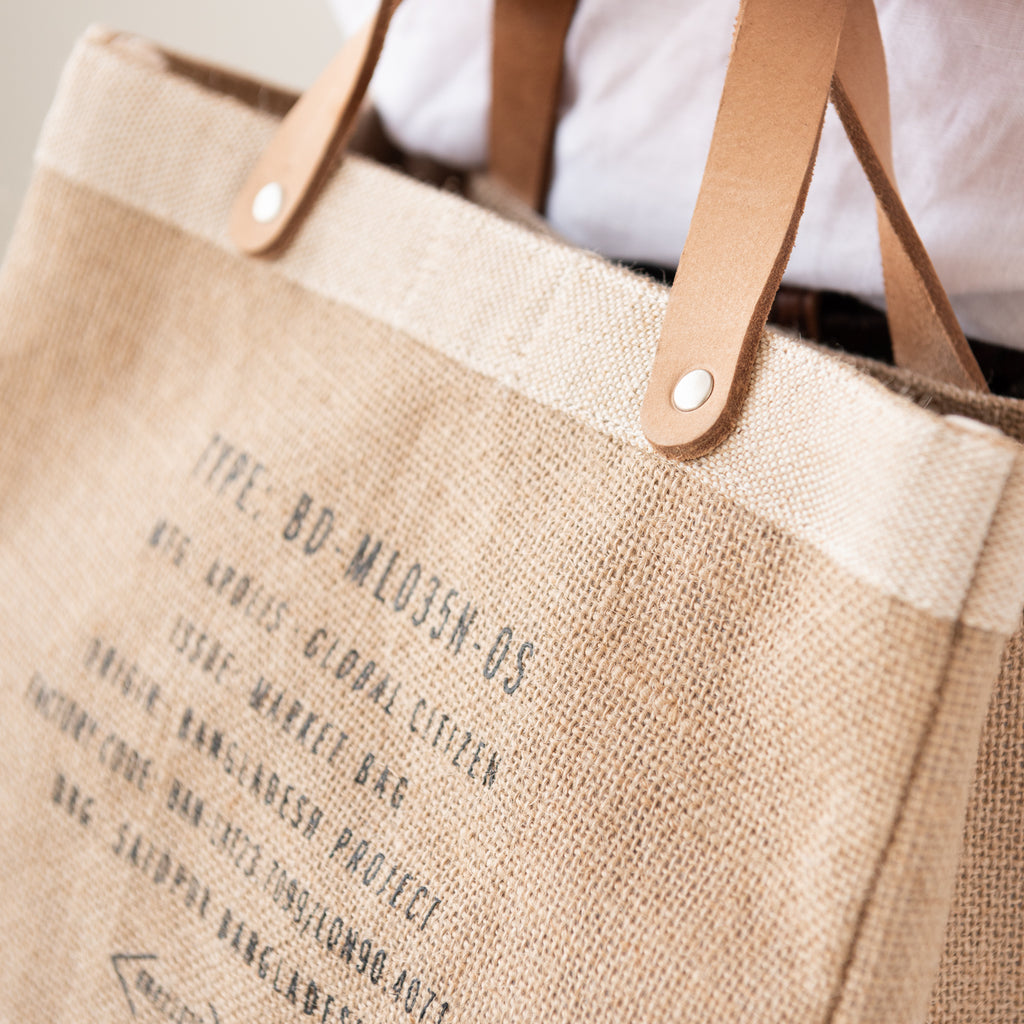 burlap tote with leather handles with Magnolia script logo