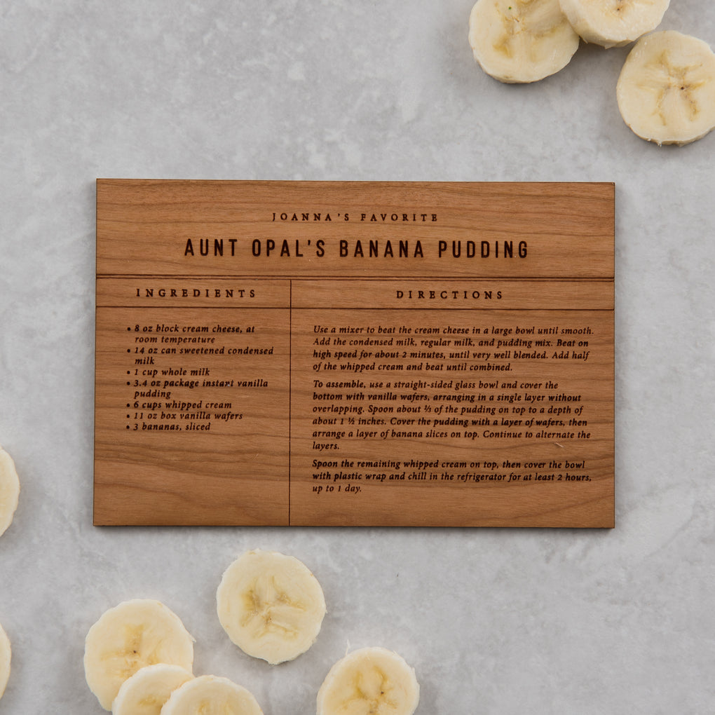banana pudding wooden recipe card