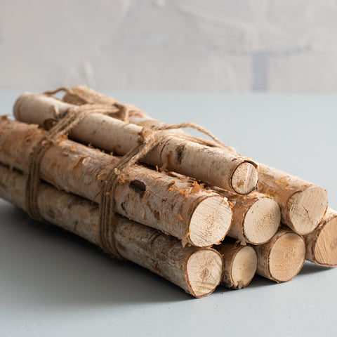 real bundle of birch logs