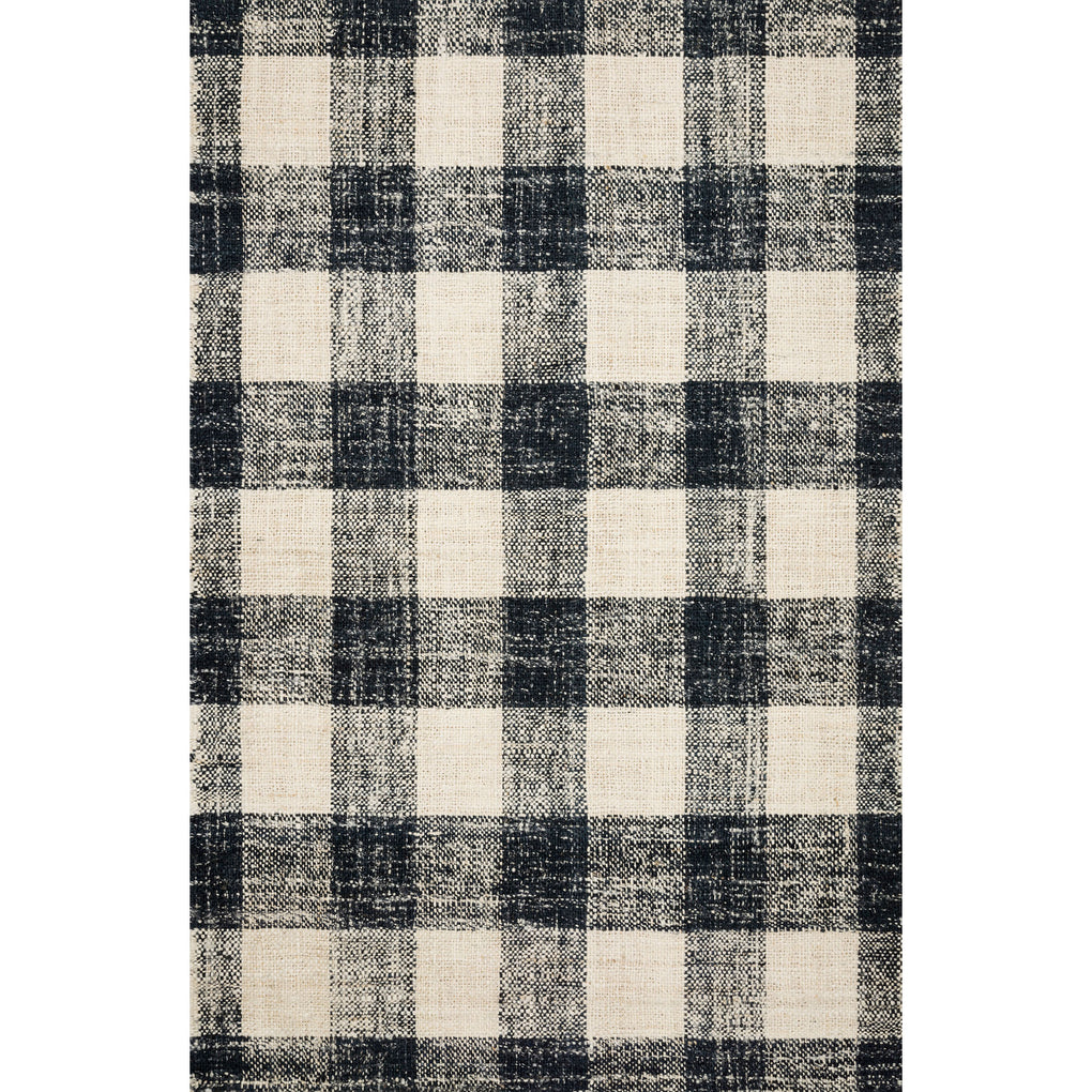 black and cream checkered pattern rug