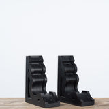 black wooden corbel bookends