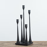 black iron candleholder centerpiece