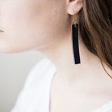 dangly rectangular black leather earrings