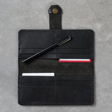 womens black leather wallet