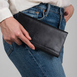black leather fold-over wallet