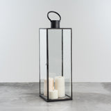 black metal and glass candle lantern