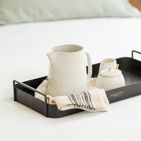 black metal rectangular tray with handles