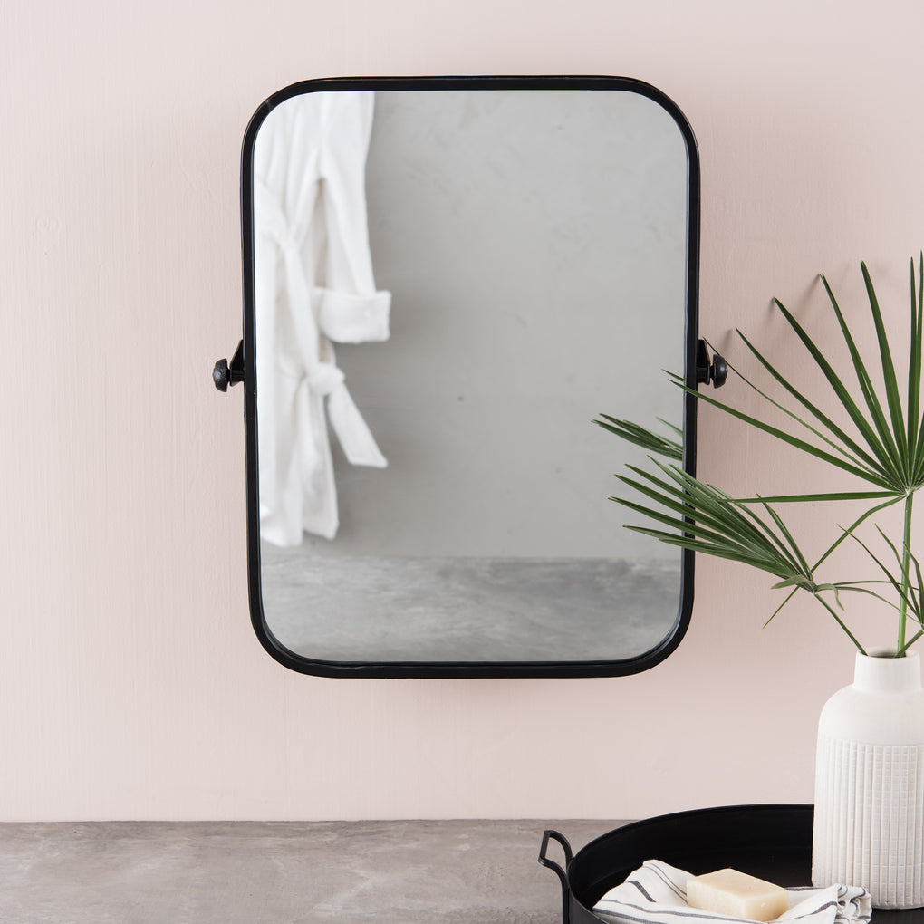 black metal framed rectangular pivot mirror