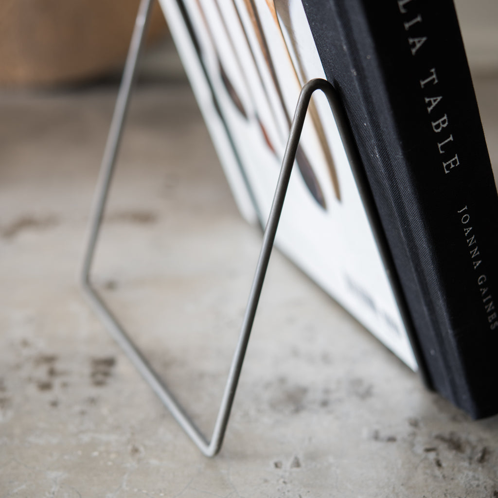 black wire cookbook holder