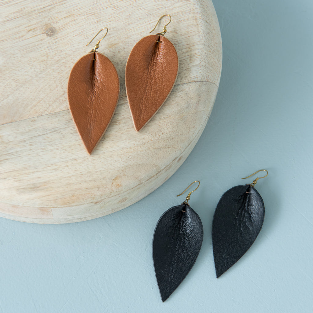 brown and black leather leaf shaped earrings