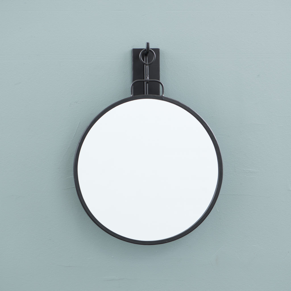 small black metal framed hanging wall mirror