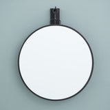large black metal framed hanging wall mirror