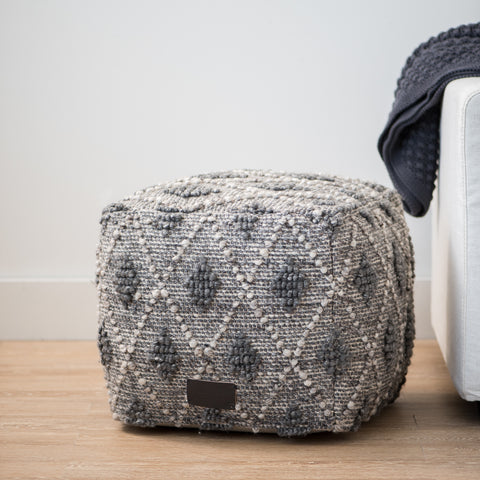 grey wool pouf with diamond raised pattern