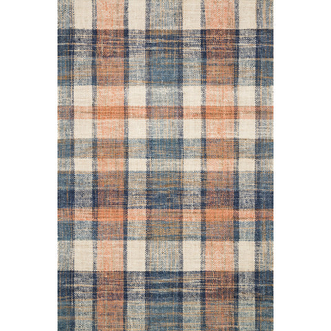 blue and orange plaid jute rug