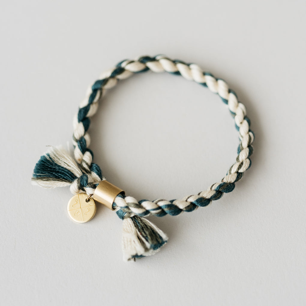 blue and white hand spun rope bracelet