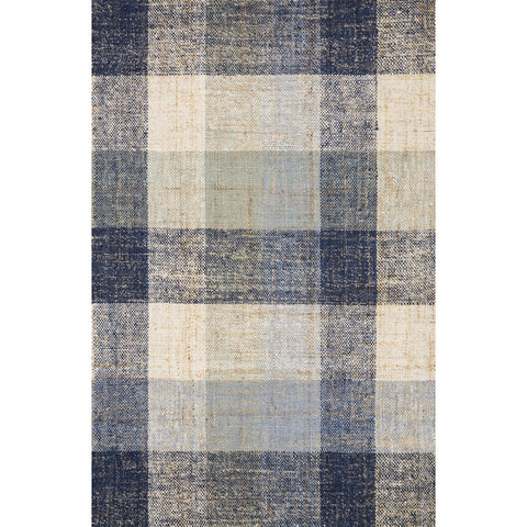 blue and cream plaid jute rug