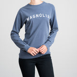 blue cotton long sleeve magnolia shirt