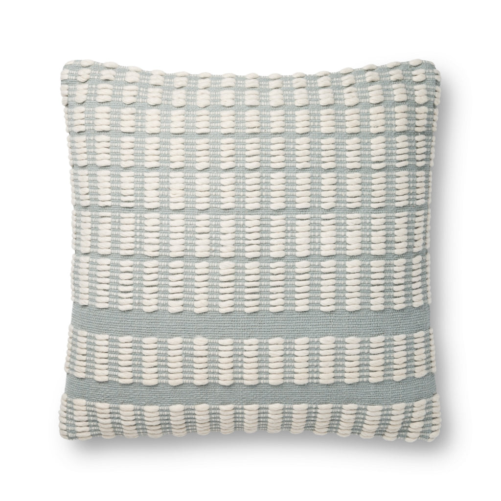 modern blue square pillow with rectangular stripe pattern