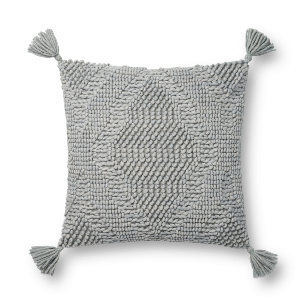 square blue wool pillow with textured patterns and blue tassels