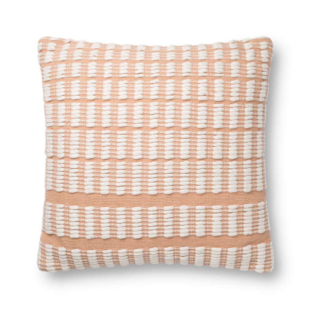 blush square pillow with white rectangular striped pattern