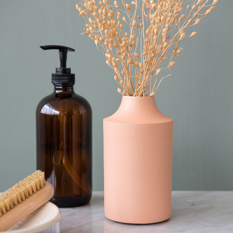 blush pink powder coated textured metal vase