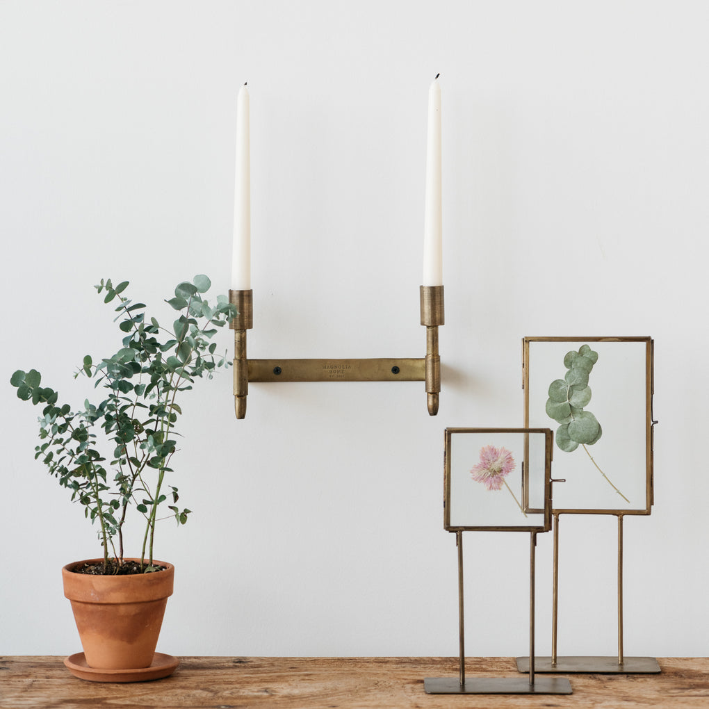 brass double taper candle wall sconce