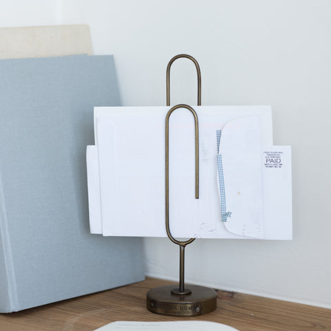 large metal standing paperclip card or envelope holder